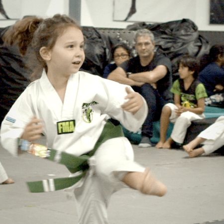 Little Ninja Kids Karate Lesson Green Belt, Focus Martial Arts Classes Brisbane, Queensland